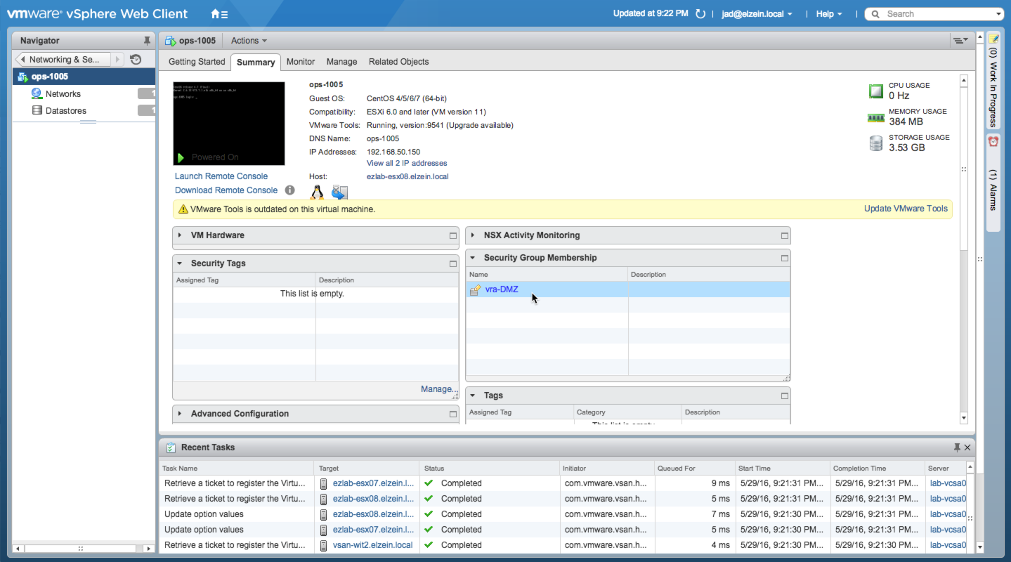Security Group Membership in vSphere Web Client