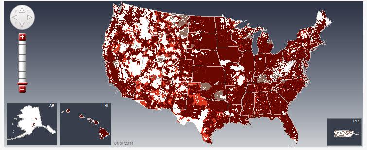 4G LTE Verizon Coverage Map