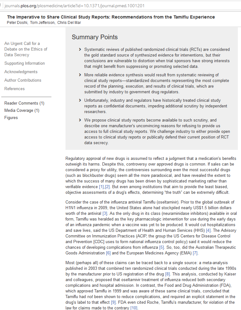 The Imperative to Share Clinical Study Reports - Recommendations from the Tamiflu Experience