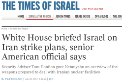 US Briefs Israel On Plans To Attack Iran