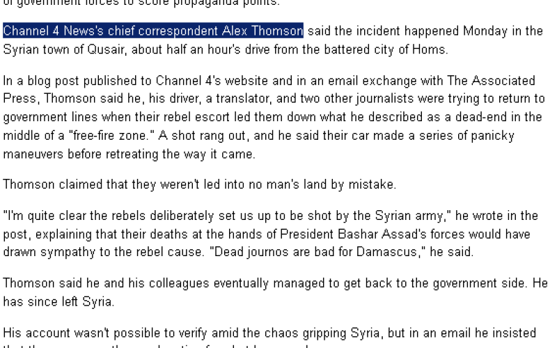 Media Blackout As Syria Rebels Set Up MSM Journalists To Be Murdered