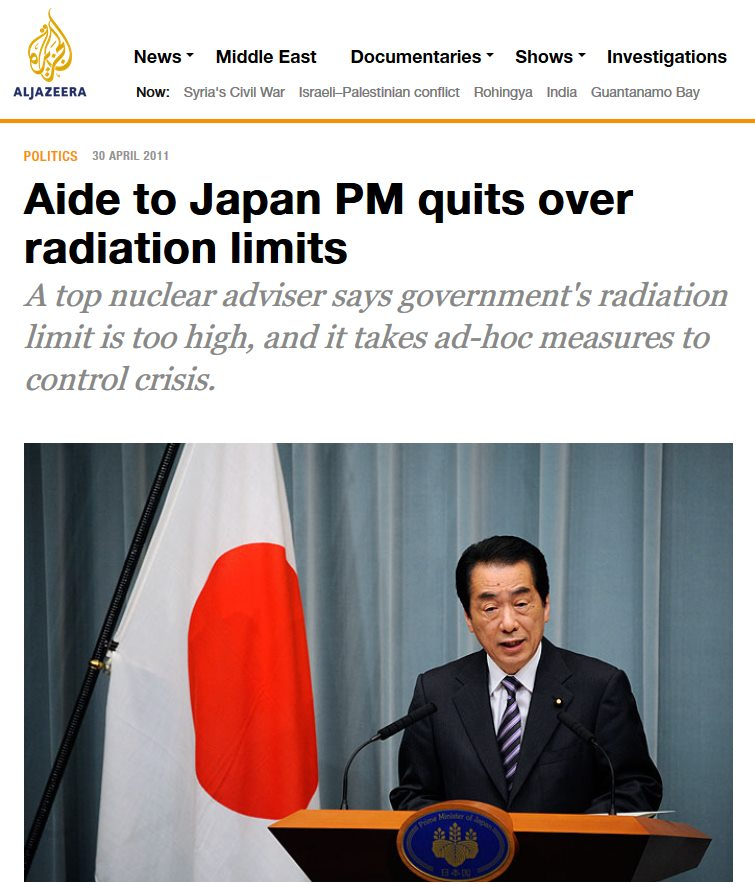 Japan PM aide quits in protest over Fukushima radiation evacuation limits