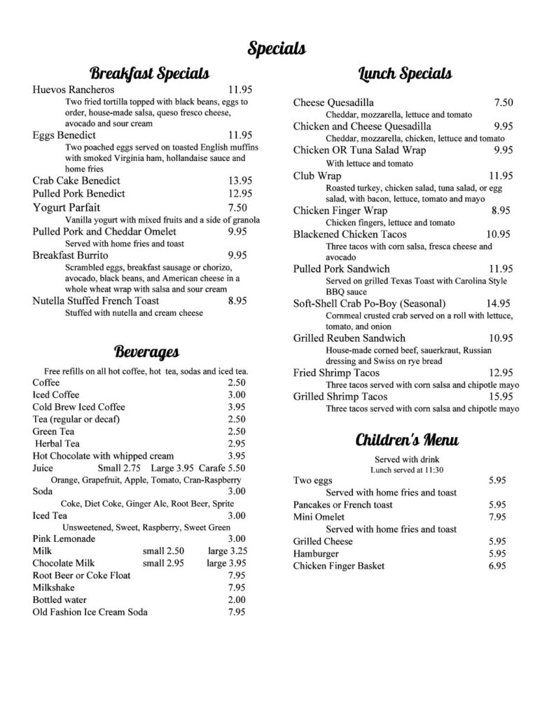 Dune Grass Breakfast and Lunch Menu Specials