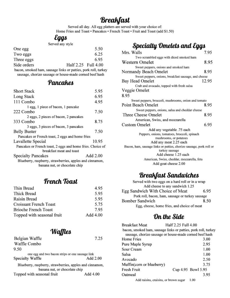 Dune Grass Breakfast Menu
