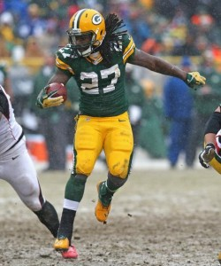 Eddie Lacy leads all rookies with 887 rushing yards and seven touchdowns.