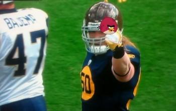 AJ Hawk Middle Finger