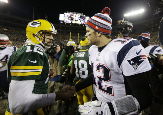 Packers QB Aaron Rodgers and Patriots QB Tom Brady
