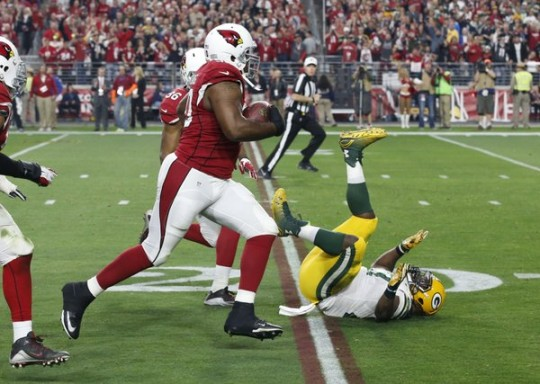 Packers RB Eddie Lacy after failing to stop a Cardinals' fumble return