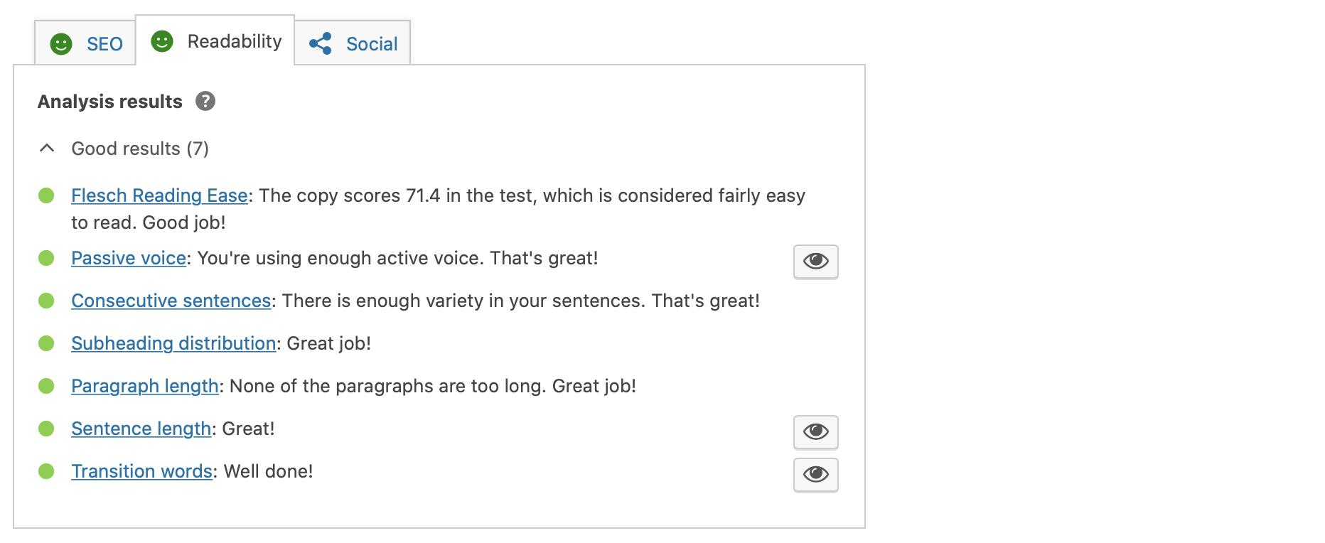 a screenshot of yoast dashboard showing my readability scores