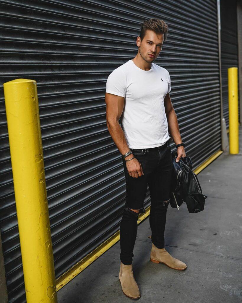 Cảm hứng phối giày chelsea boots da lộn cho chàng mạnh mẽ