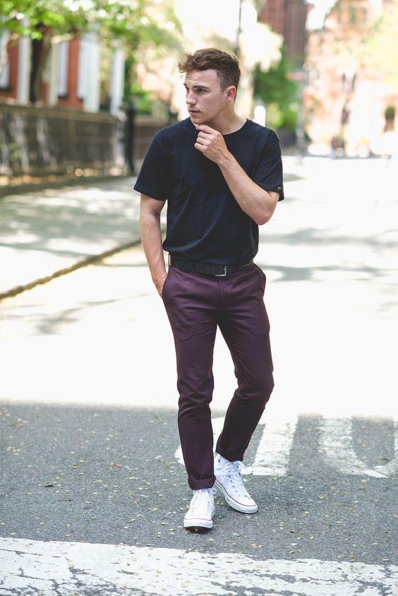 Cách phối giày converse trắng cao cổ mà chàng đã diện là chất