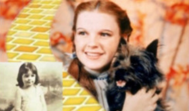 Image of Judy Garland as a child and another of her in the role of Dorothy
