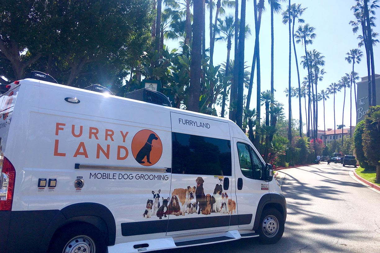Furry Land Van Driving To Beverly Hills Hotel