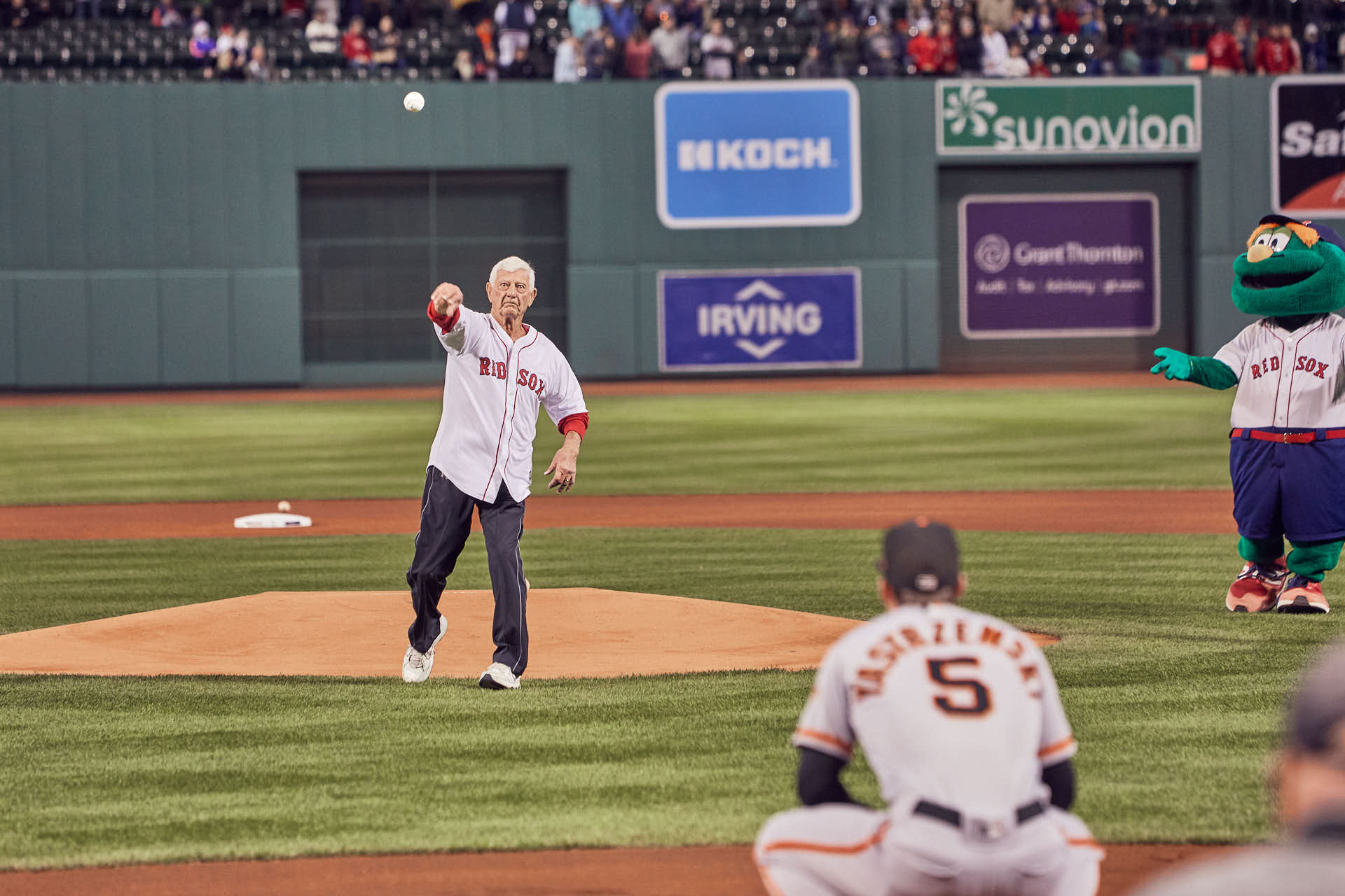 Editorial Yastrzemski to Yastrzemski first pitch at Fenway Park by Boston based photographer Greg Caparell