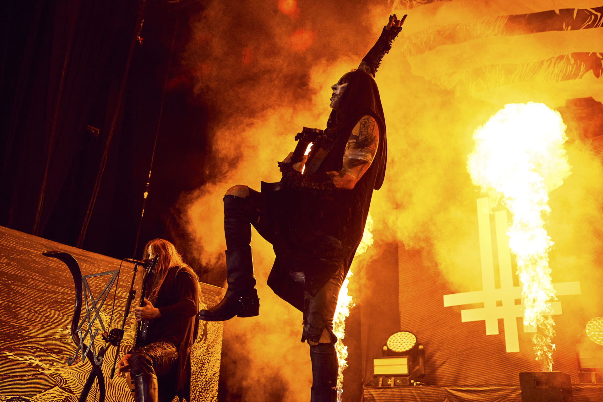 Behemoth performing at the Xnfinity Center with a fire tower by Boston based photographer Greg Caparell