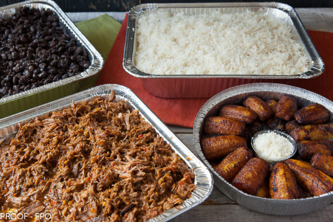 Choice of protein, garlic coconut rice, black beans and sweet plantains with queso fresco