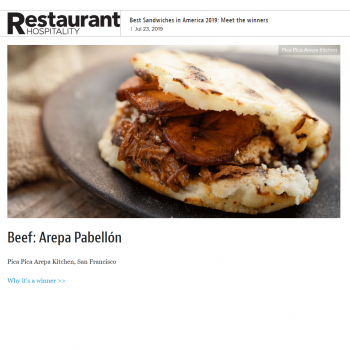 Best Sandwiches in America 2019: Meet the winners, Beef: Arepa Pabellón