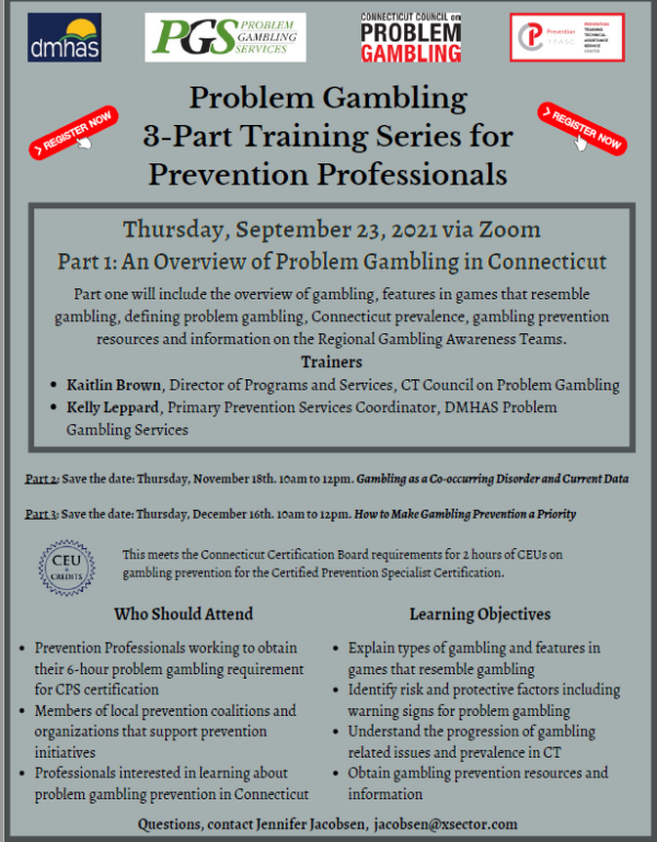 Problem Gambling 3-Part Training Series for Prevention Professionals: Part 1 - An Overview of Problem Gambling in Connecticut @ Virtual
