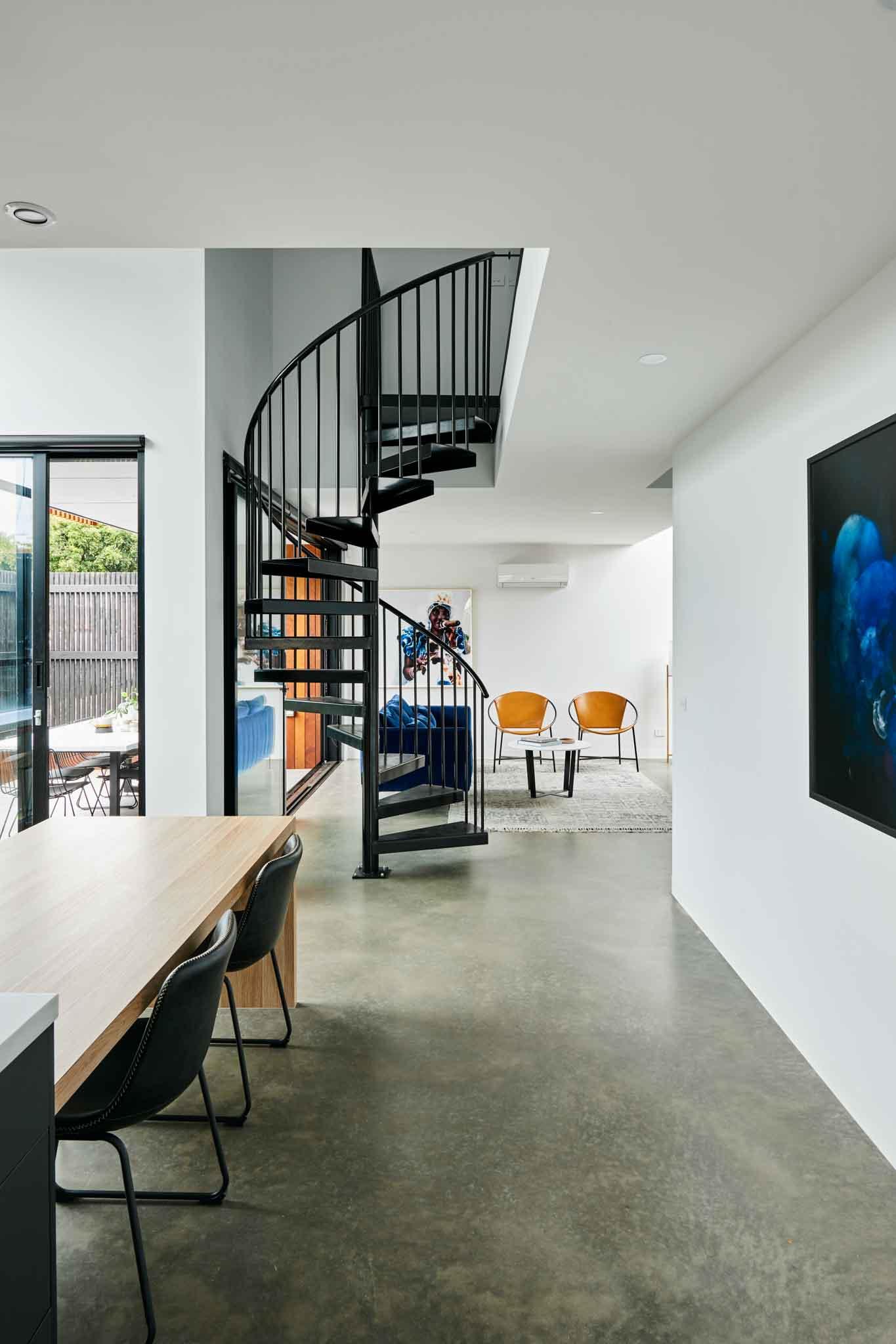 black spiral staircase