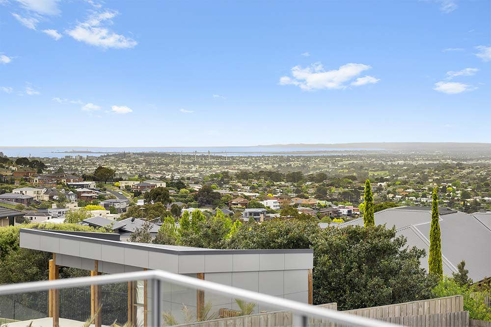 kitchen with view over Geelong