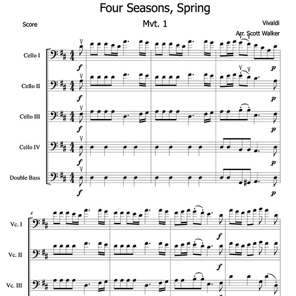 Spring Cello Quintet sample score