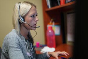 nurse advice line call shelf woman triage medical blonde woman call hand