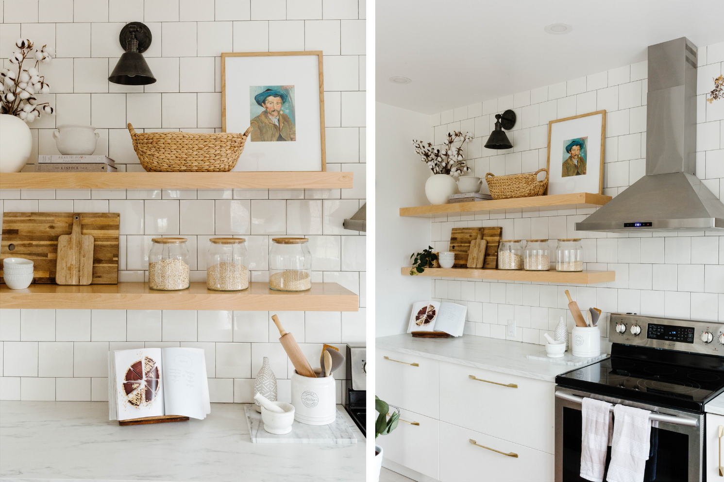 Two photos of Brit's kitchen, with minimally decorated shelves and nearly bare counter tops