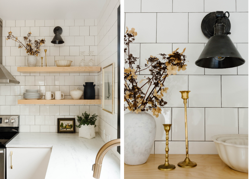 Two photos - one showing a distance shot of a kitchen counter with styled shelves at the end. The second a close up of a black wall sconce beside two candlesticks and a vase of dried flowers.