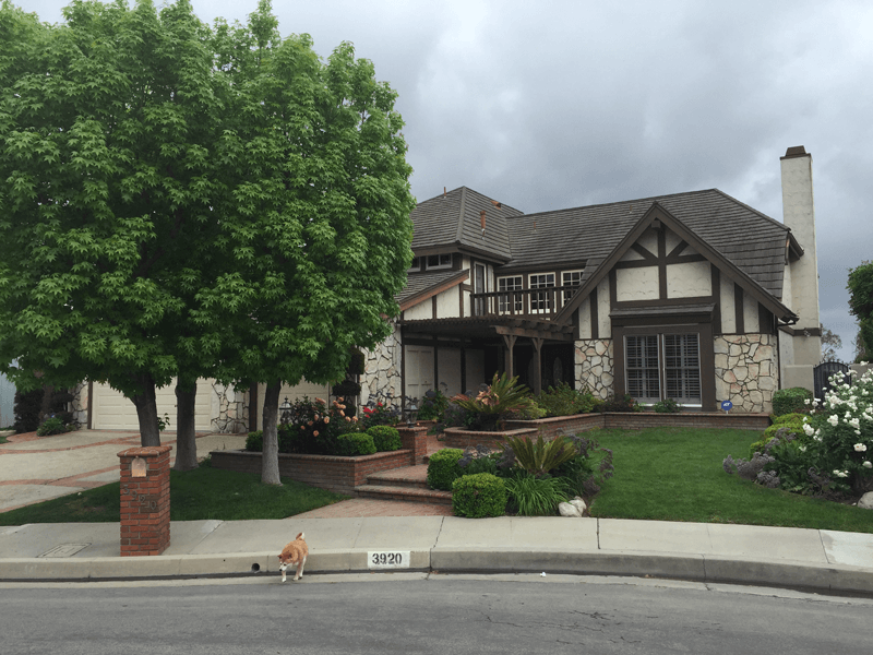 Two story flagstone stucco tudor home