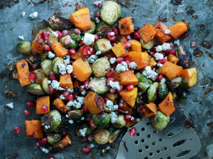 Garlic Chili-Maple Roasted Butternut Squash & Brussels Sprouts