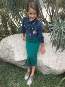 At home in the garden, self-sewn skirt
