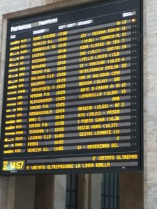 Oh the places we'll go! The departures' monitor in Milan.