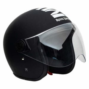 Royal Enfield OP MLG (V) Open Face Helmet with Visor (Matt Black/White, L)