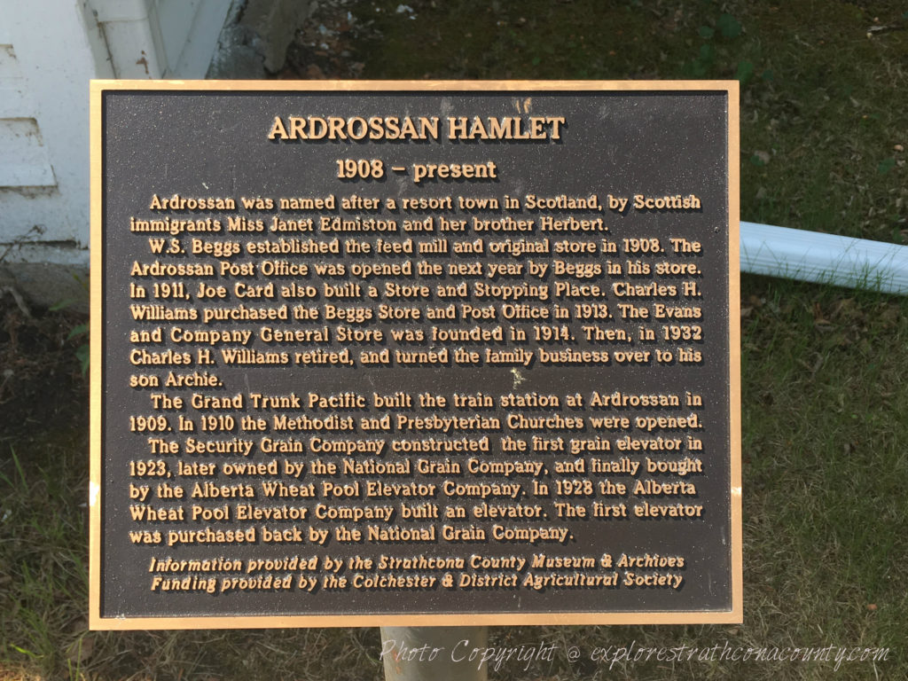 Ardrossan Historical Plaque Strathcona county