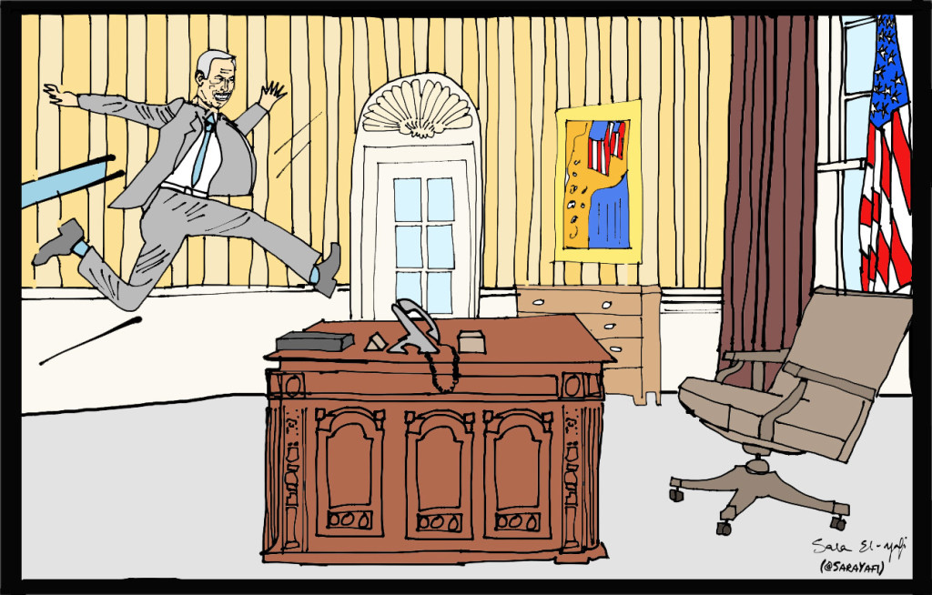 Slide 7 - Bibi jumping onto the desk signed