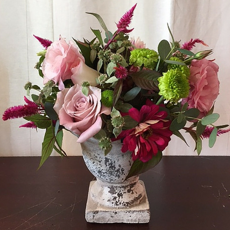 Shabby Chic Pink Urn Arrangement by Just Priceless