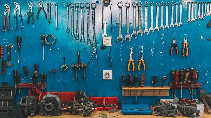 Wrenches set in the workshop-cm