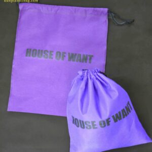 Purple drawstring non-woven bag