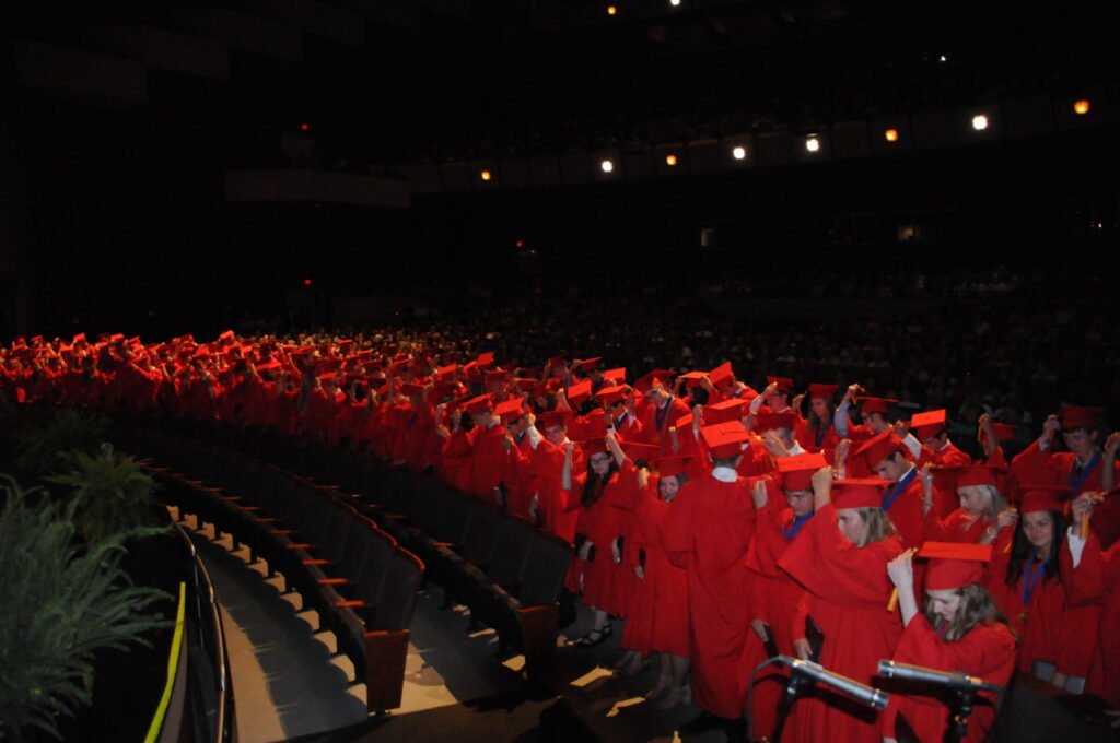 Mater Dei's 138 graduating seniors turn their tassels.