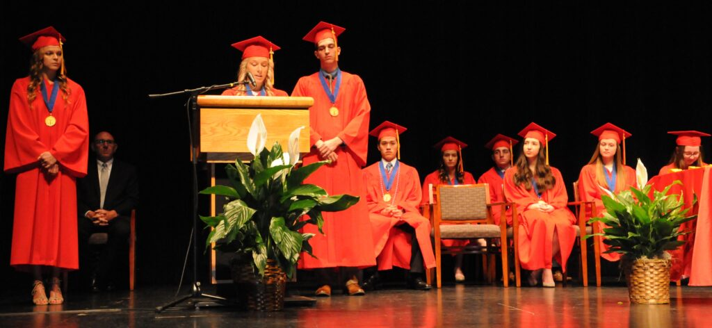 Valedictorians for Mater Dei's Class of 2019 are Payton Pokorney, Jenna Fehrenbacher, Andrew Heldman, Darian Kuhn, Rachel Fisher, Claire Adler, Grace Friona, Jenna Zirkelbach and Zachary Norman.