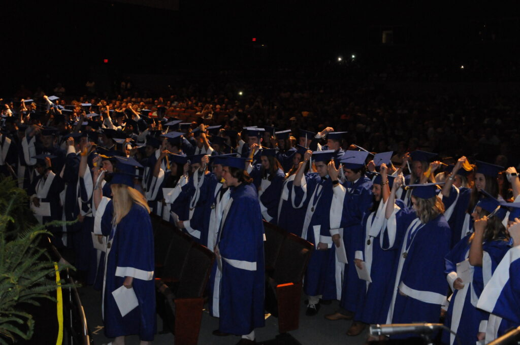 Memorial's 147 graduating seniors turn their tassels.