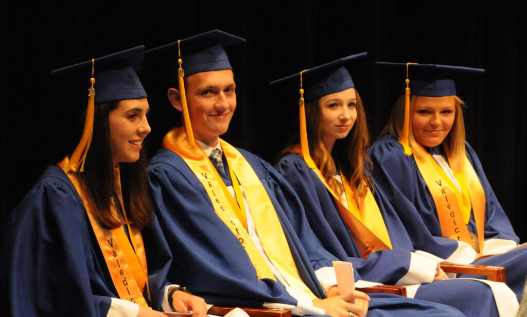 Valedictorians for Memorial's Class of 2019 are Rachel DeLancey, Davis Howell, Nicole Neisen and Carly Scheu.
