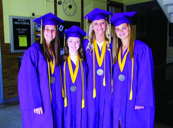 Rivet High School 2019 Valedictorians are Katie Niehaus, left, Savannah Cook, Molly Niehaus and Grace Waggoner