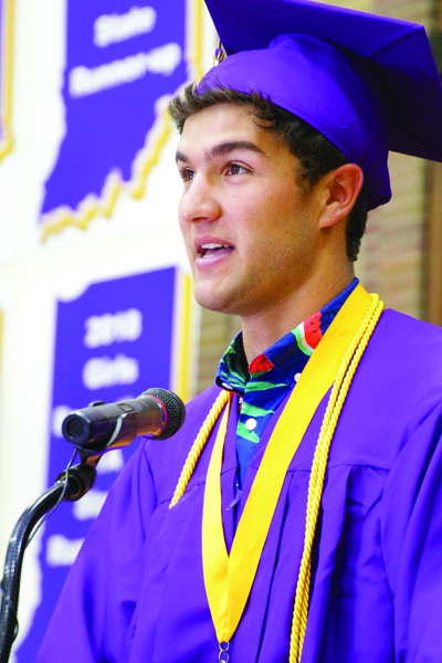 Rivet High School 2019 Salutatorian Colton Mouzin speaks during Commencement.