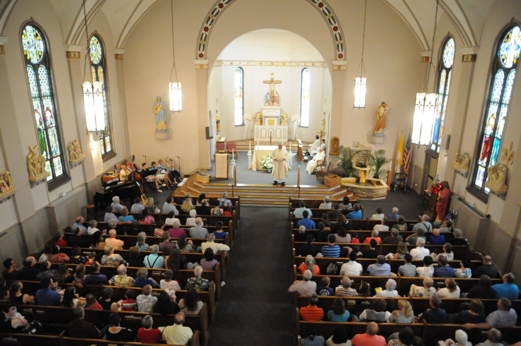"""Father James """"Jim"""" Sauer, retired priest of the diocese, celebrated his final Mass as pastor of St. Matthew Parish on June 23."""