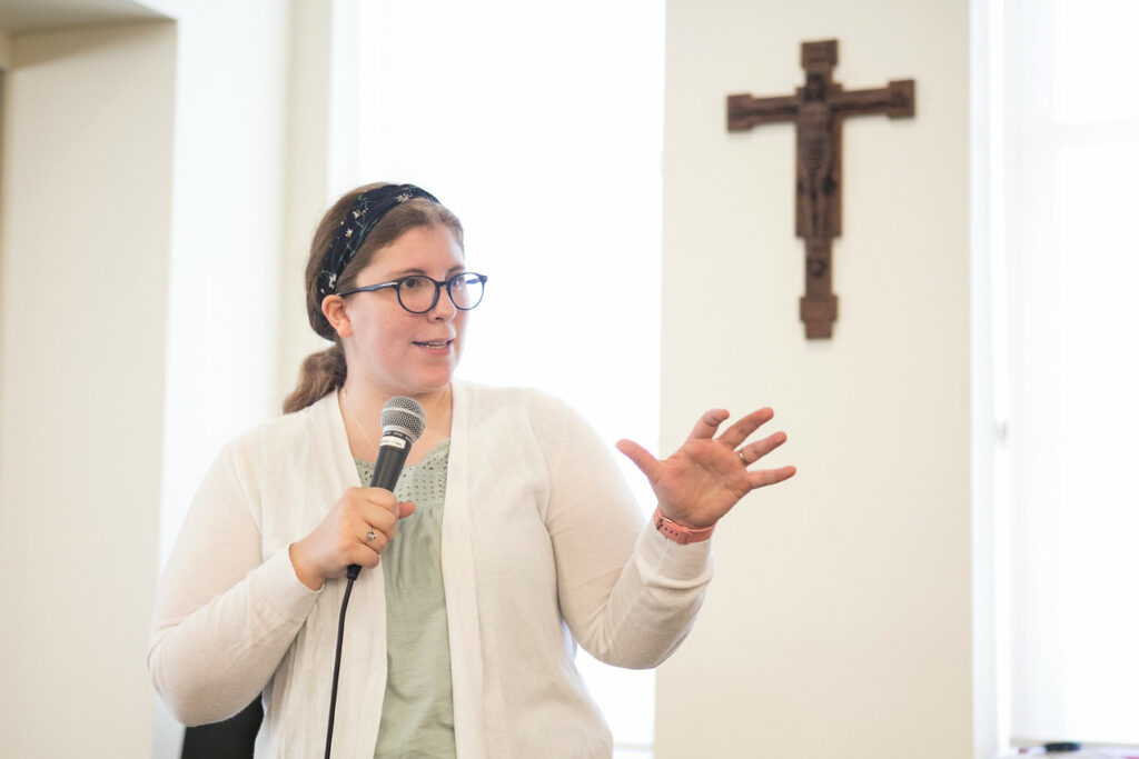 Guest speaker Katie Prejean McGrady impresses on attendees the significance and necessity of the missionary aspect of the Church. Photo courtesy of St. Meinrad Archabbey