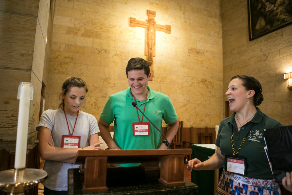 Youth and adult participants enjoy this Liturgical Formation Session. Photo courtesy of St. Meinrad Archabbey