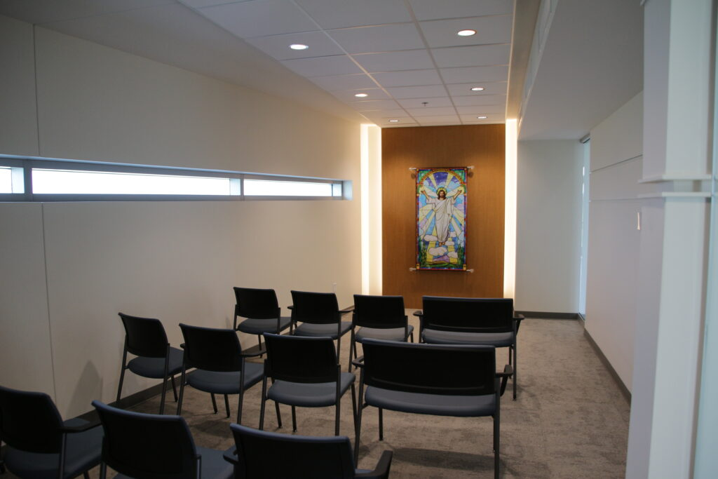 Visitors to the hospital are welcome to spend time in the Ascension of Jesus Chapel, located on the first floor.