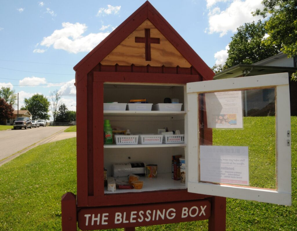 St. Joseph's new Blessing Box, inspired by the program at Princeton Presbyterian Church, is located at the corner of Race Street and St. Joe Lane in Princeton. Its purpose is to provide basic needs for anyone in the community, including personal hygiene items, baby necessities and canned food.