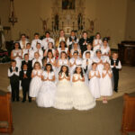 St. Mary Parish, Huntingburg St. Mary Parish in Huntingburg celebrated First Communion on May 5. Shown are Shawn Humbert, first row left, Miguel Calderon, Zoey Messmer, Bryanna Calvillo, Marelyn Dubon Cruz, Mariela Dubon Cruz, Hadley Denu, and Sophia DeKemper, Jackson Arehart, second row left, Liam Kaeck, Jocelyn Dubon, Audrey McAninch, Greidys Gutierrez, Sawyer Steckler, Ximena Mendoza, and Brayden Wilz, Katherine Moran, third row left, Leyton McAllister, Ryley Messmer, Isabelle Bolte, Joselyn Mora, Adriana Alas, Nolan Byrd, and Yesenia Flores Morales, Karen Gomez Acosta, fourth row left, Jessy Dubon, Arturo Duron, Pastor Father Ryan Hilderbrand, Miguel Chavez, Lucas Reller and Adalyn Schwartz. Bentley Merkel and Erika Palacios Ramirez are not pictured. Submitted photo by Jeff Wollenmann
